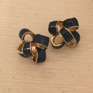 EUC Lilly Pulitzer Bow Critter Earrings Gold Navy